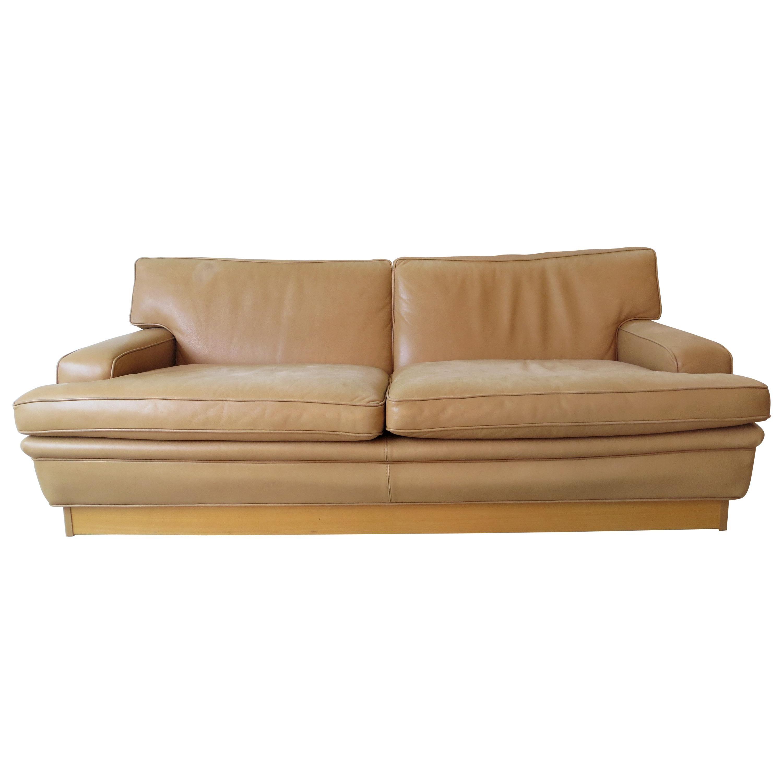 Arne Norell Vintage Leather Merkur Sofa Loveseat in Butterscotch Brown , 1960s