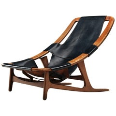 Arne Tidemand Ruud Adjustable 'Holmkollen' Lounge Chair in Black Leather