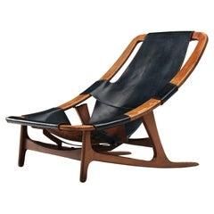 Arne Tidemand Ruud Adjustable 'Holmkollen' Lounge Chair in Black Leather