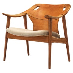 Arne Tidemand Ruud Armchair Model '3050' in Leather and Oak