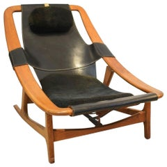 Arne Tidemand Ruud for ISA 'Holmkollen' Lounge Chair in Black Leather