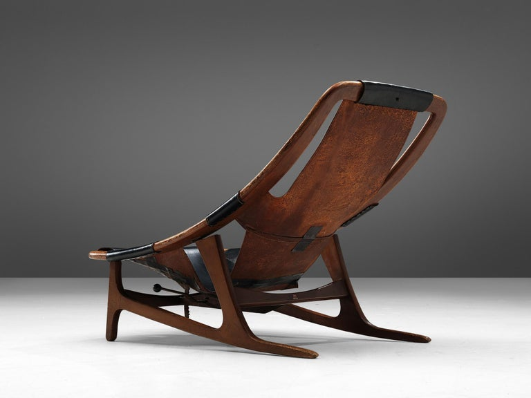 Mid-Century Modern Arne Tidemand Ruud for ISA 'Holmkollen' Lounge Chair in Black Leather