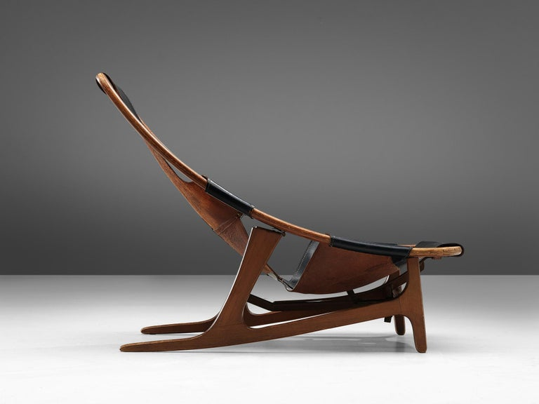 Norwegian Arne Tidemand Ruud for ISA 'Holmkollen' Lounge Chair in Black Leather