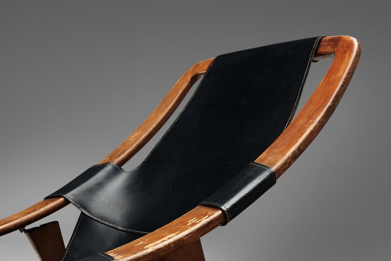 Arne Tidemand Ruud for ISA 'Holmkollen' Lounge Chair in Black Leather In Good Condition In Waalwijk, NL