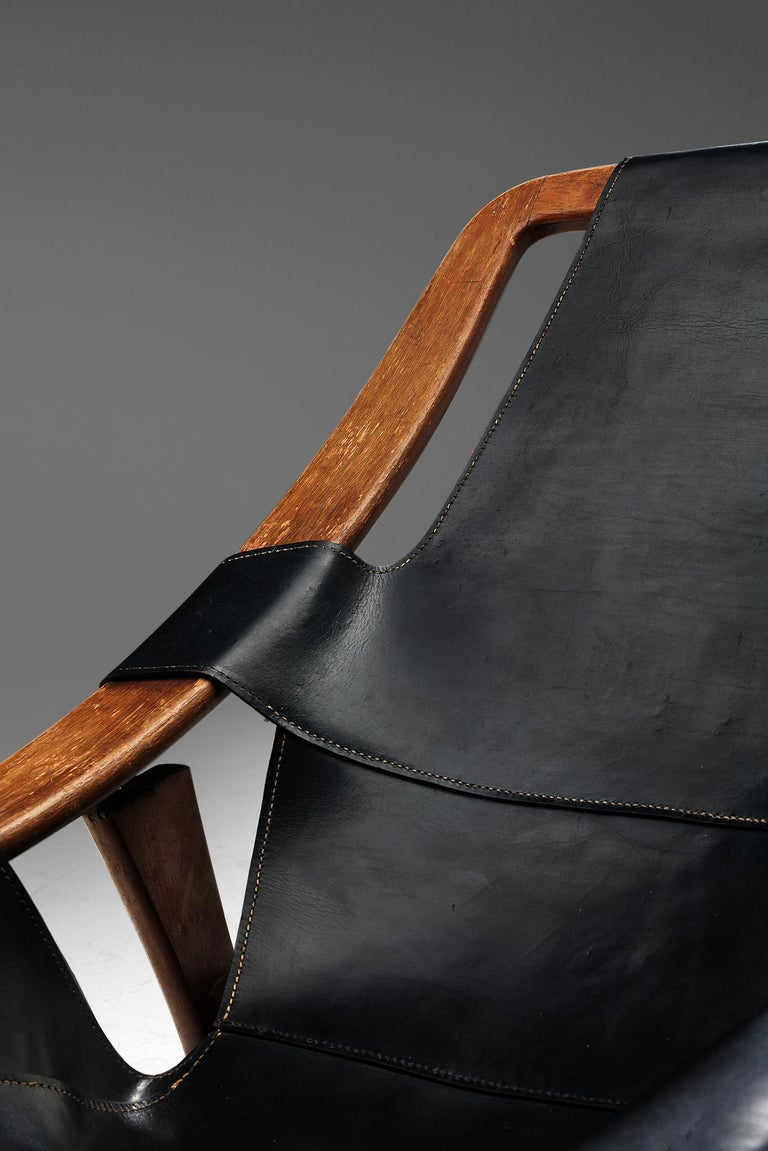 Mid-20th Century Arne Tidemand Ruud for ISA 'Holmkollen' Lounge Chair in Black Leather