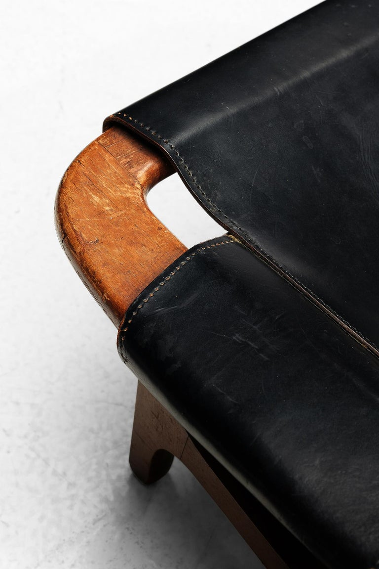 Arne Tidemand Ruud for ISA 'Holmkollen' Lounge Chair in Black Leather 1
