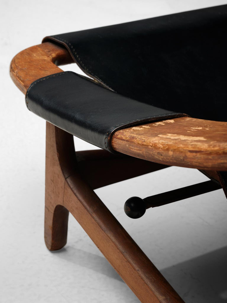 Arne Tidemand Ruud for ISA 'Holmkollen' Lounge Chair in Black Leather 2