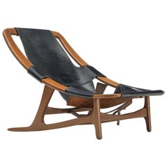 Arne Tidemand Ruud for Norcraft 'Holmkollen' Lounge Chair in Black Leather