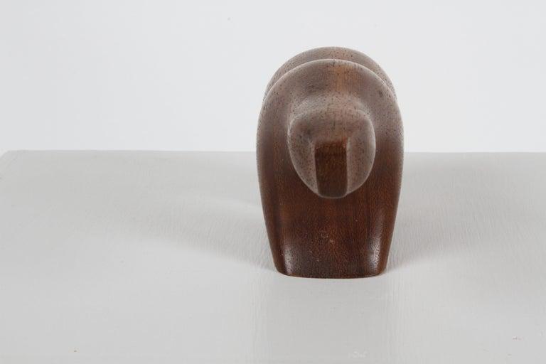 Arne Tjomsland Modernist Carved Polar Bear Sculpture in Teak, Norway For Sale 3