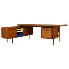 Arne Vodder 1970s Brown Writing Desk Sideboard Teak Sibast