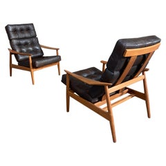 Arne Vodder a Pair of Fd164 Adjustable Lounge Chair France & Son, 1962