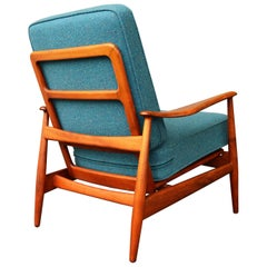 Arne Vodder Beech Frame 2 Position Lounge Chair Teal Tweed Wool