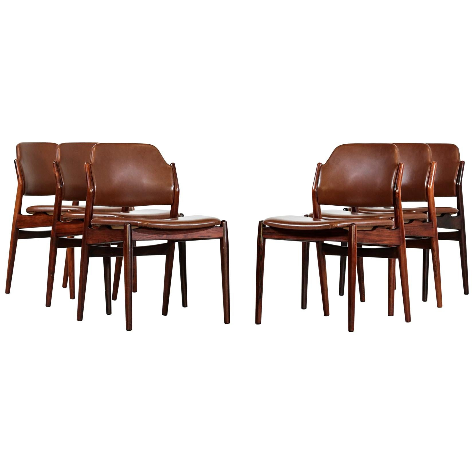 Arne Vodder Chairs, Set of 6 in Rosewood, Denmark