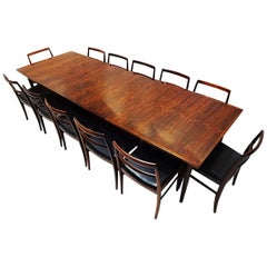 Arne Vodder Danish Midcentury 201 Rosewood Dining Table with Twelve 430 Chairs