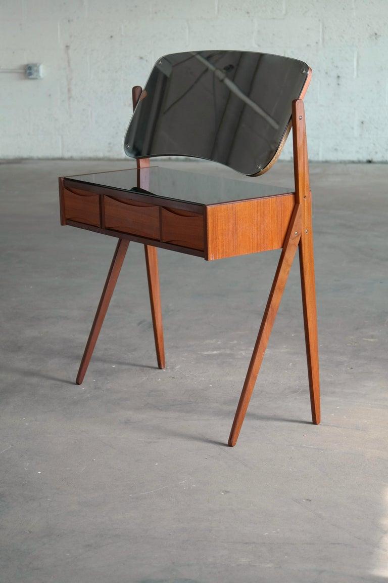 Mid-Century Modern Arne Vodder Danish Midcentury Teak Vanity or Dressing Table with Mirror, 1960s For Sale