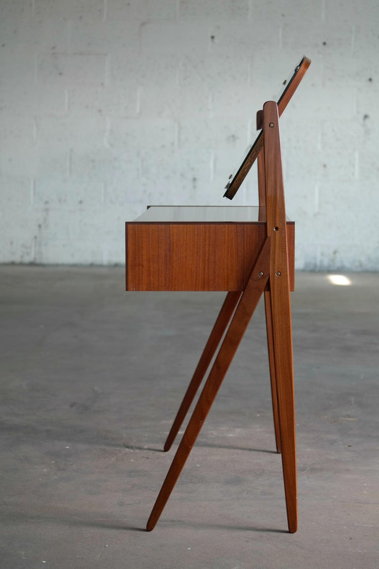 Mid-20th Century Arne Vodder Danish Midcentury Teak Vanity or Dressing Table with Mirror, 1960s For Sale