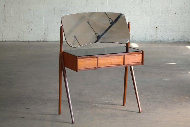 Glass Arne Vodder Danish Midcentury Teak Vanity or Dressing Table with Mirror, 1960s For Sale