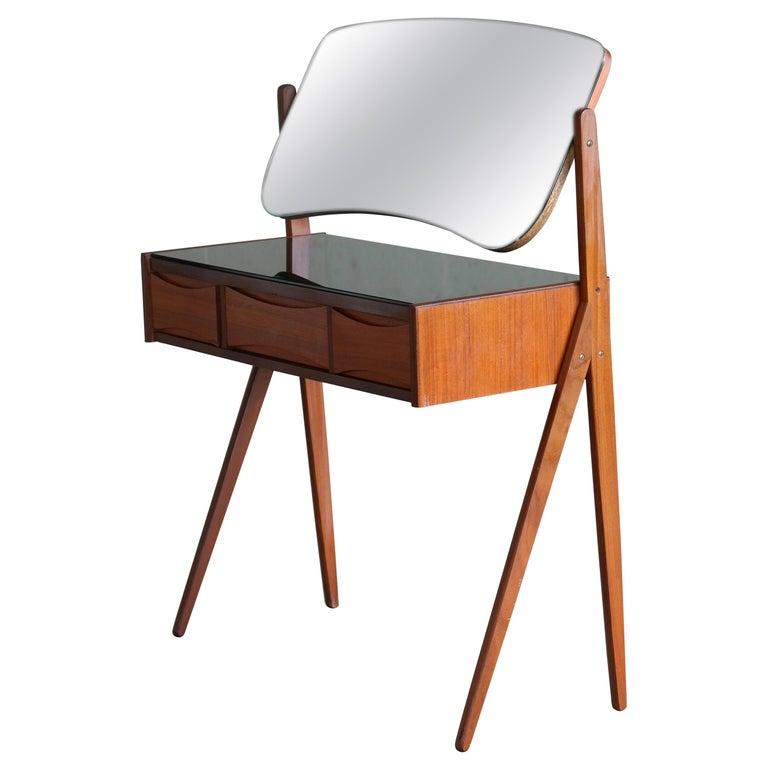 Arne Vodder Danish Midcentury Teak Vanity or Dressing Table with Mirror, 1960s For Sale