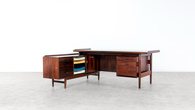 Arne Vodder Office Desk & Sideboard, Model 209 in 1955 by Sibast Møbelfrabrik, Denmark  Stunning and huge desk with integrated sideboard - designed by Arne Vodder for Sibast Furniture in 1955. Table top with raised edges, front with 2 drawers and