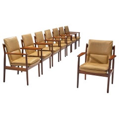 Arne Vodder Dining Chairs with Cognac Leather