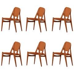 Arne Vodder Ella Dining Chairs New Fabric Solid Teak Swivel Back Danish Modern