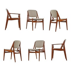 Arne Vodder Ella Dining Chairs Solid Teak Swivel Back Danish Modern