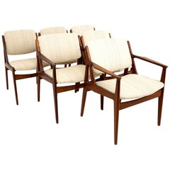 Arne Vodder Elle and Ella Midcentury Teak Dining Chairs, Set of 6