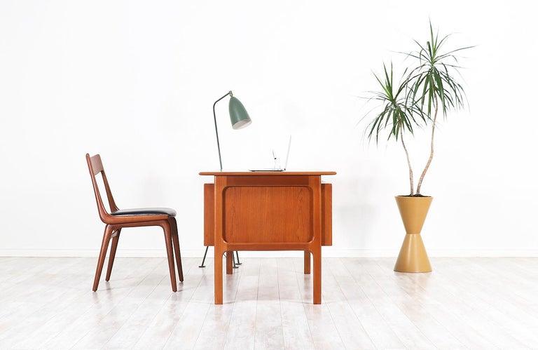 Danish Arne Vodder Executive Teak Desk with Bookshelf for Sibast For Sale