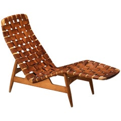 Arne Vodder for Bovirke Chaise Lounge in Cognac Leather