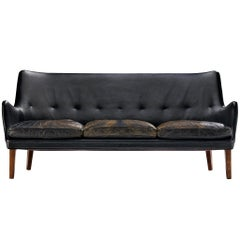 Arne Vodder for Ivan Schlechter Sofa in Original Patinated Leather