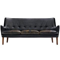 Arne Vodder for Ivan Schlechter Sofa in Original Patinated Leather