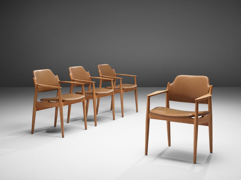 Danish Arne Vodder for Sibast Armchairs in Oak and Leatherette For Sale