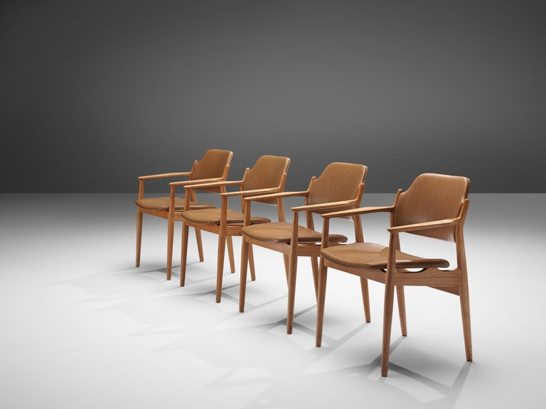 Arne Vodder for Sibast Armchairs in Oak and Leatherette For Sale 1