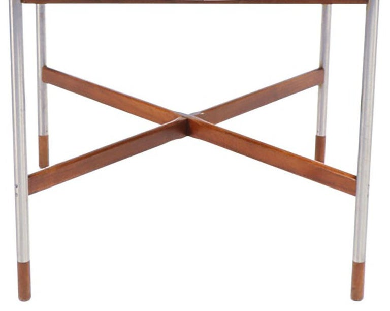 Mid-Century Modern Arne Vodder for Sibast, Attr. Walnut and Brushed Stainless Steel Dining Table For Sale