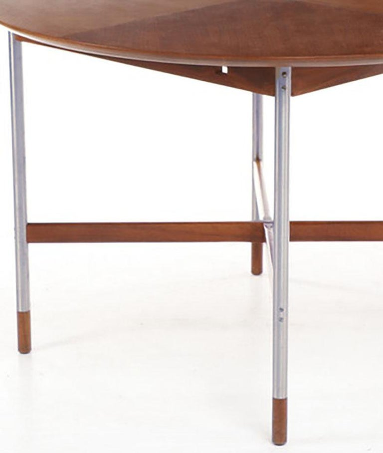 Danish Arne Vodder for Sibast, Attr. Walnut and Brushed Stainless Steel Dining Table For Sale