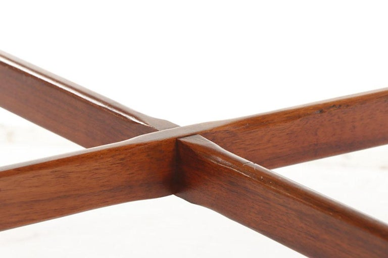 Mid-20th Century Arne Vodder for Sibast, Attr. Walnut and Brushed Stainless Steel Dining Table For Sale