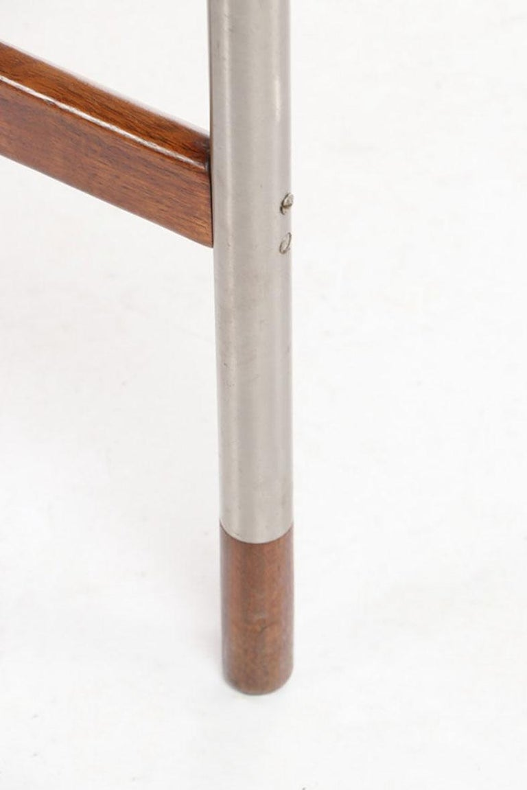 Arne Vodder for Sibast, Attr. Walnut and Brushed Stainless Steel Dining Table For Sale 1