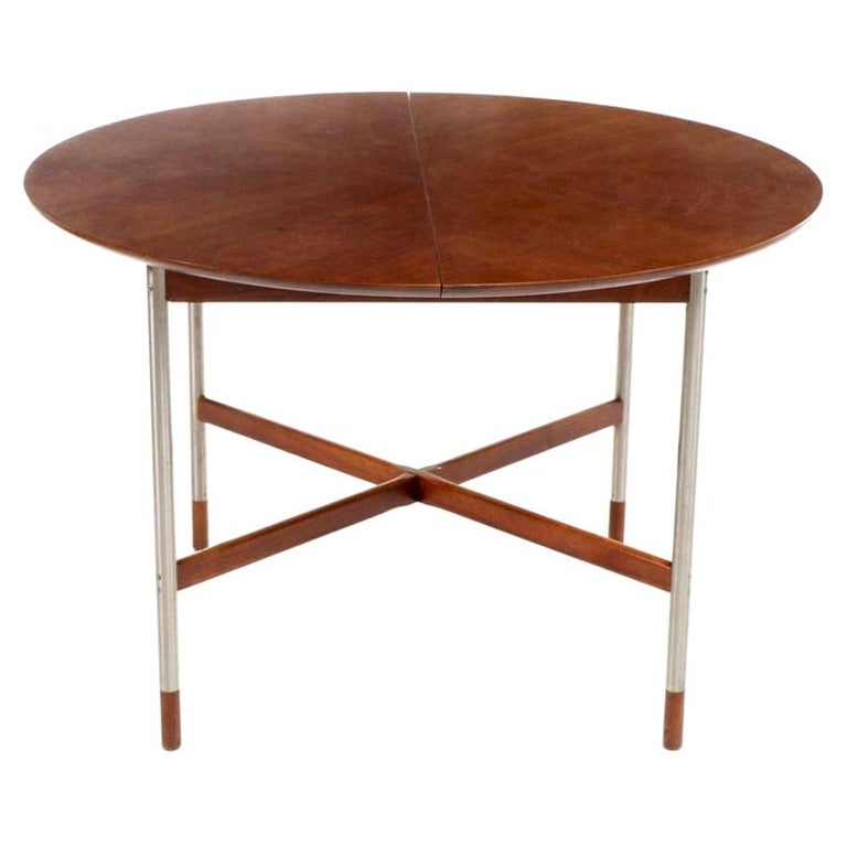 Arne Vodder for Sibast, Attr. Walnut and Brushed Stainless Steel Dining Table For Sale