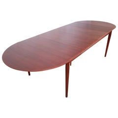 Arne Vodder for Sibast Danish Modern Teak Extension Dining Table, Newly Restored