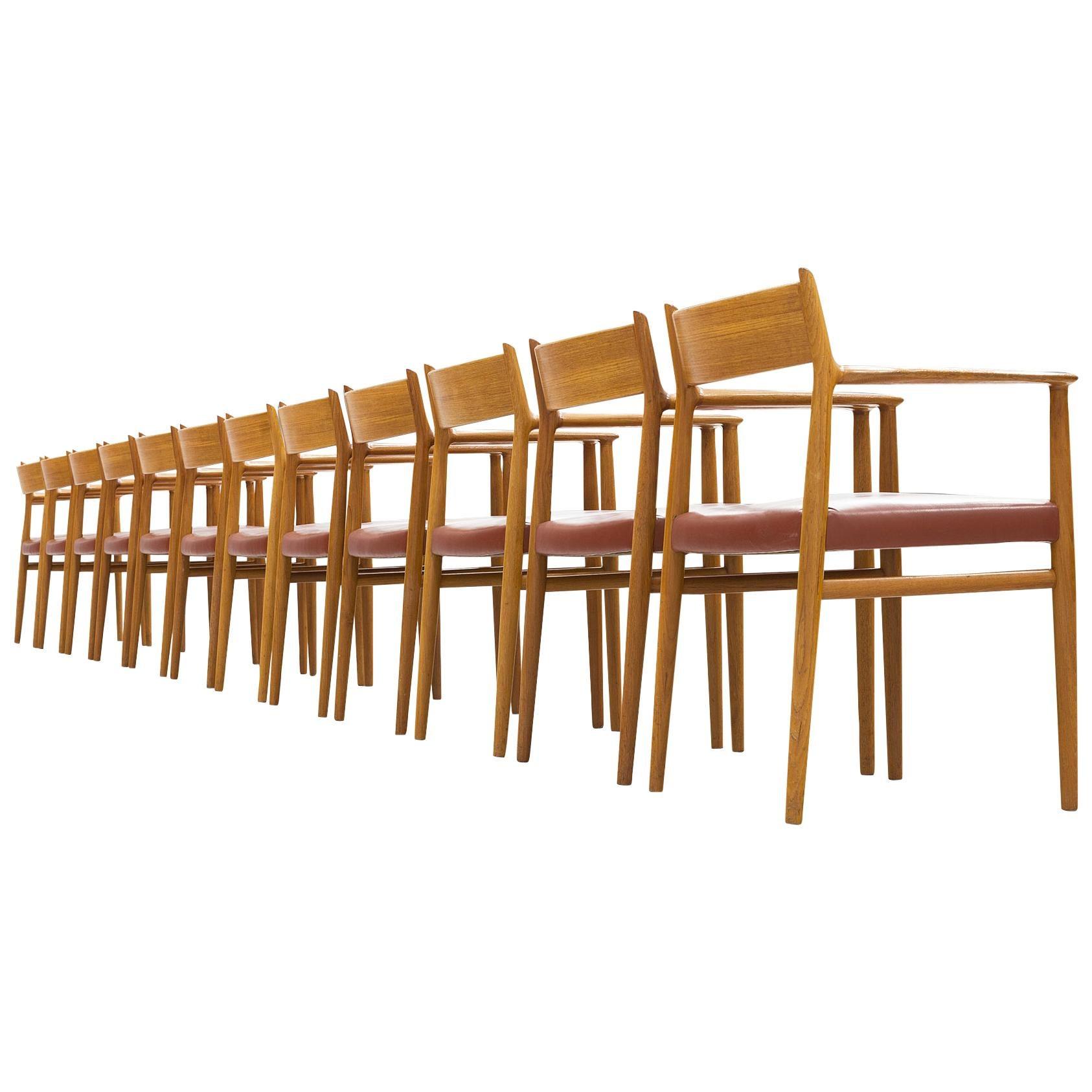 Arne Vodder for Sibast Møbler Set of 12 Dining Chairs '418'