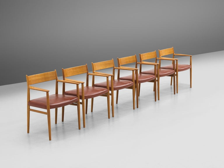 Arne Vodder for Sibast Møbler, set of six dining room chairs model 418, teak and faux leather, Denmark, 1960s