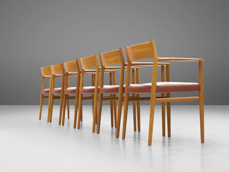 Danish Arne Vodder for Sibast Møbler Set of Six Dining Chairs '418' For Sale