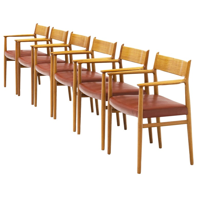 Arne Vodder for Sibast Møbler Set of Six Dining Chairs '418' For Sale