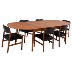 Arne Vodder for Sibast Mid-Century 227 Extendable Dining Table & 6 Dining Chairs