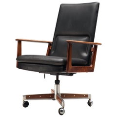 Arne Vodder for Sibast Office Chair in Black Leather