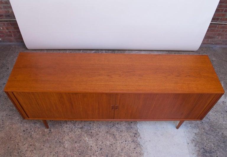 Scandinavian Modern Arne Vodder for Sibast Tambour-Door Teak Credenza Model 37 For Sale