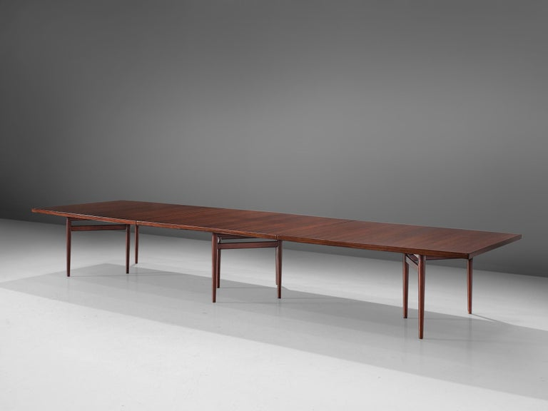 Scandinavian Modern Arne Vodder Grand Dining Table in Exotic Hardwood For Sale
