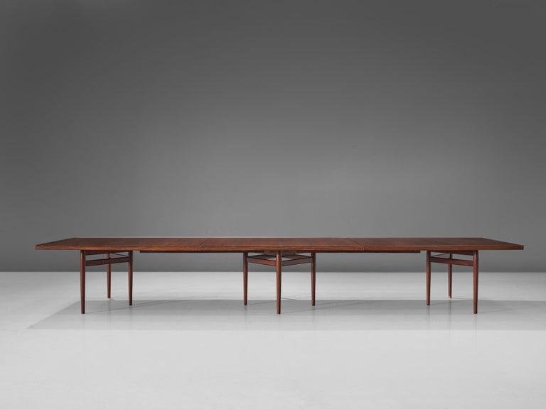Danish Arne Vodder Grand Dining Table in Exotic Hardwood For Sale