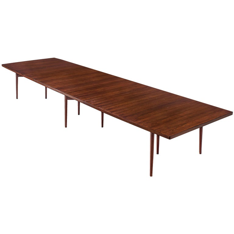 Arne Vodder Grand Dining Table in Exotic Hardwood For Sale