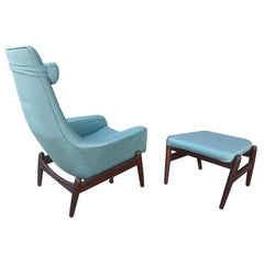 Arne Vodder Lounge Chair and Ottoman, Classic Modern Design, Denmark, 1950s